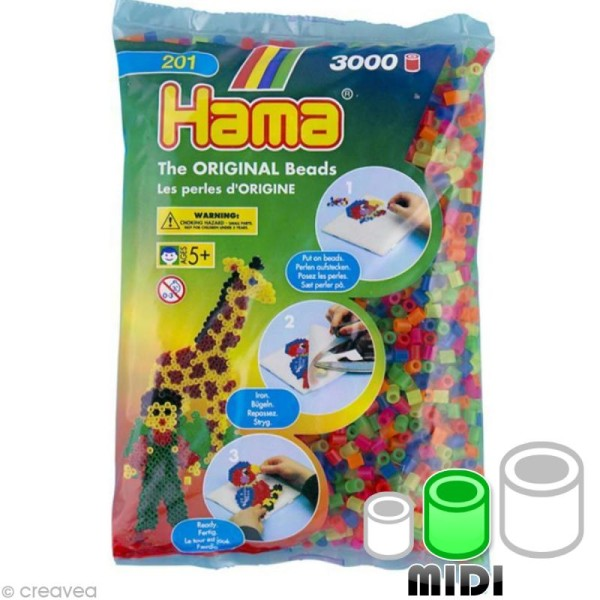 Perles Hama Midi diam. 5 mm - Assort. fluo transparentes x3000 - Photo n°1