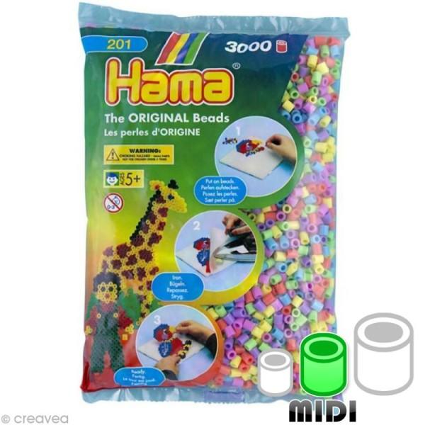 Perles Hama Midi diam. 5 mm - Assort. pastel x3000 - Photo n°1