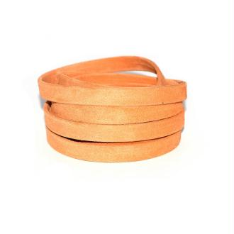 Cuir daim doublé 10 mm orange x10 cm