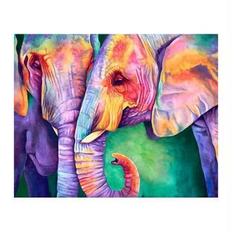 Broderie Diamant Kit - Sagesse des éléphants - 50 x 40 cm