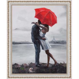 Broderie Diamant Kit - Embrasser sous le parapluie - 40 x 50 cm
