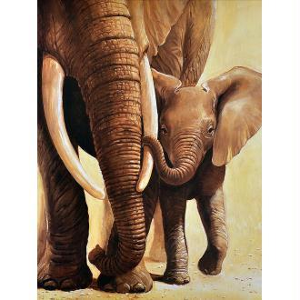Broderie Diamant Kit - Les éléphants - 30 x 40 cm