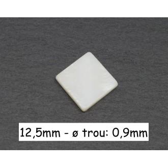 4 Perles En Nacre Carré De Couleur Blanc Cassé Ivoire Nacré