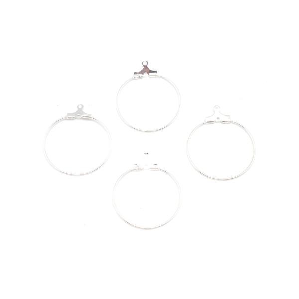 4 Supports Boucles D'oreilles Créole En Métal Argenté Brillant Blanc 25mm - Photo n°3