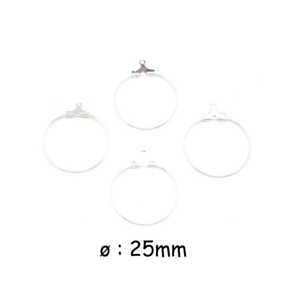 4 Supports Boucles D'oreilles Créole En Métal Argenté Brillant Blanc 25mm - Photo n°1