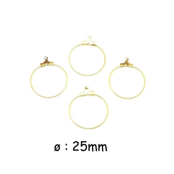 4 Supports Boucles D oreilles Créole En Métal Doré 25mm - Clou d ... d0fd2ca92722