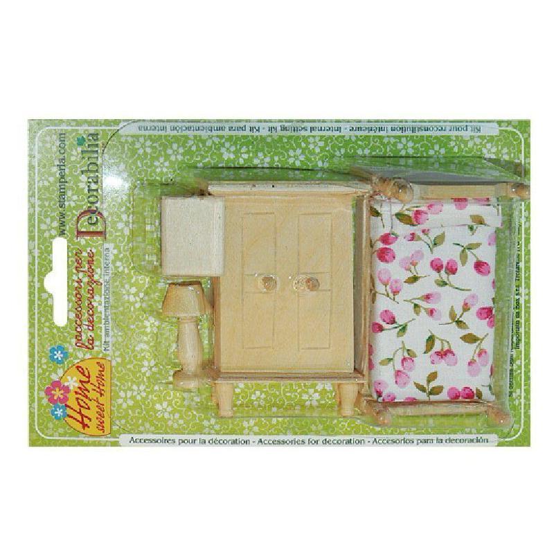 kit en bois chambre coucher miniature meuble miniature. Black Bedroom Furniture Sets. Home Design Ideas