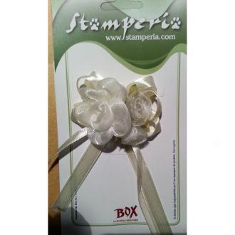 Rose blanche avec ruban crème pour décoration ou scrapbooking