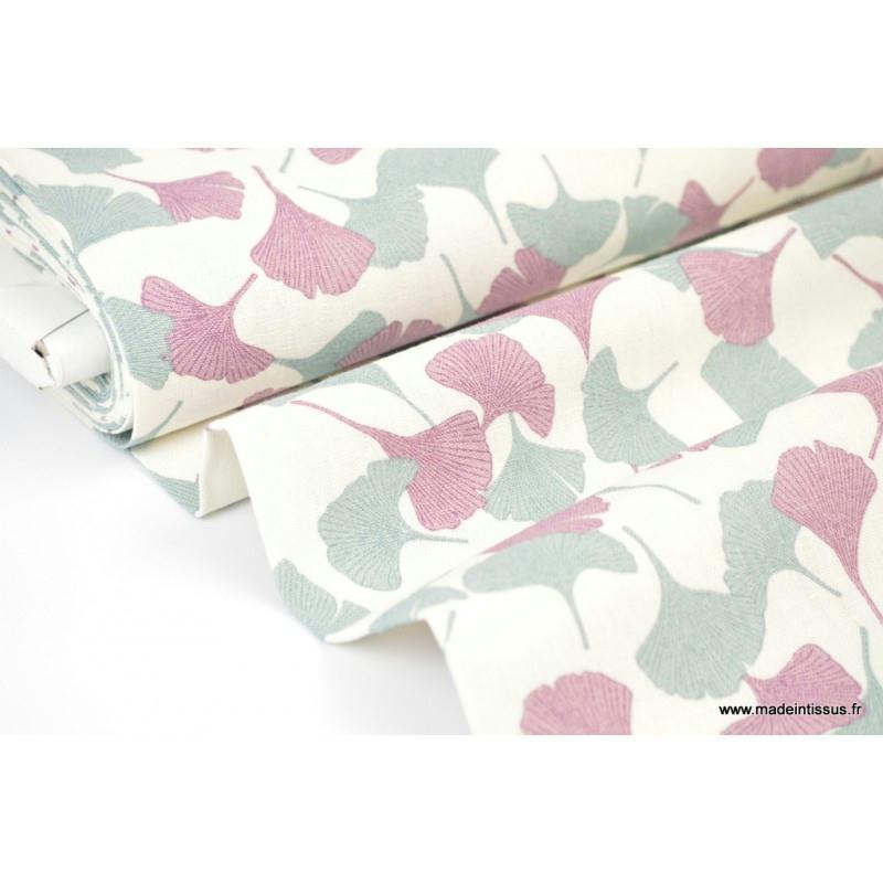 tissu fluide lin viscose imprim fleur de ginkgo col c ladon et violet tissu lin creavea. Black Bedroom Furniture Sets. Home Design Ideas