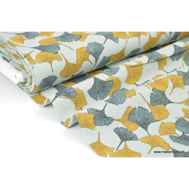 tissu fluide lin viscose imprim ginkgo col moutarde et vert tissu lin creavea. Black Bedroom Furniture Sets. Home Design Ideas