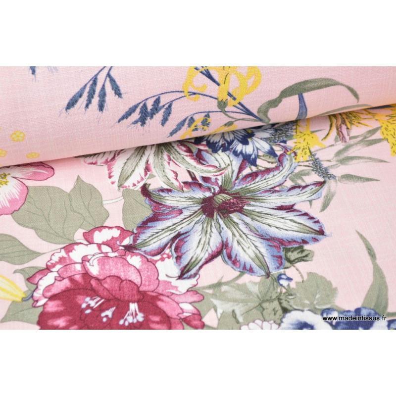 tissu fluide coton lin viscose imprim grosses fleurs fond rose tissu lin creavea. Black Bedroom Furniture Sets. Home Design Ideas