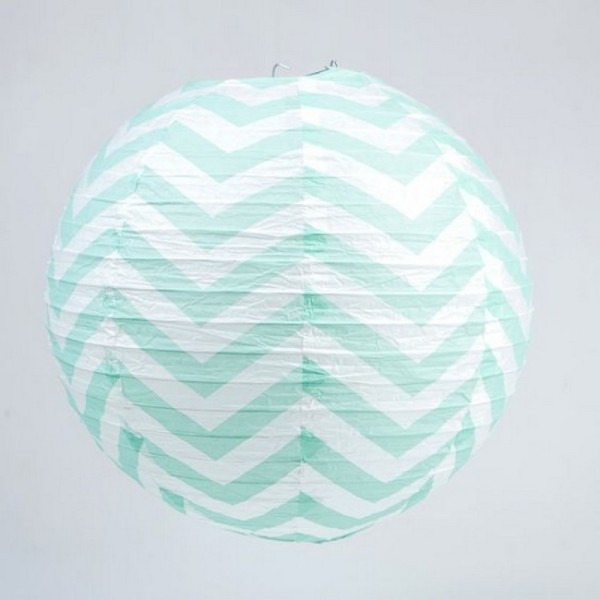 Lanterne japonaise Zigzag Bleu Menthe et Blanc de 35 cm, Boule chinoise Chevron en papier à suspendr - Photo n°1