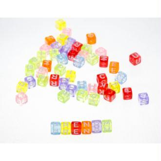 Lot 100 Perles Alphabet 6mm Transparent Multicouleur Cube 6mm