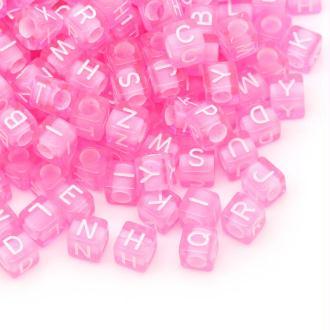 Lot de 100 Perle Rose Lettre Alphabet Cube 6mm Mixte