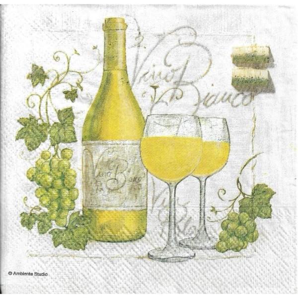 4 Serviettes en papier Vin Blanc Raisin Format Cocktail - Photo n°1