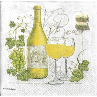 4 Serviettes en papier Vin Blanc Raisin Format Cocktail