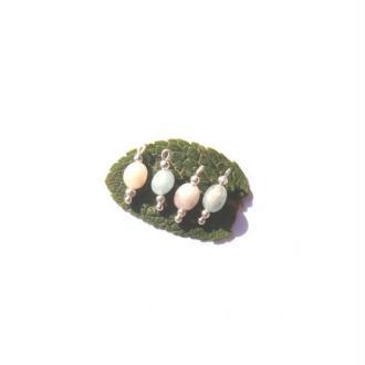Morganite et Aigue Marine :4 MICRO breloques 15 MM de hauteur x 6 MM