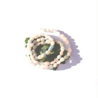 Béryl : Morganite et Aigue Marine : 10 Petites perles très irrégulières 4/6 MM