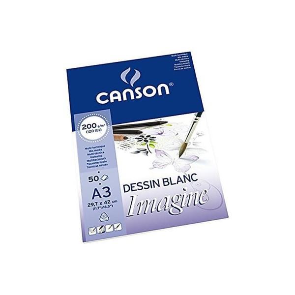 Canson Imagine Bloc Papier à dessin 50 feuilles 200g A3 29,7 x 42 cm 50 feuilles Blanc pur - Photo n°2