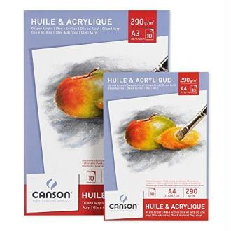 Canson 200005787 Bloc Palette 20 feuilles pour Huile et Acrylique 24 x 32 cm Blanc