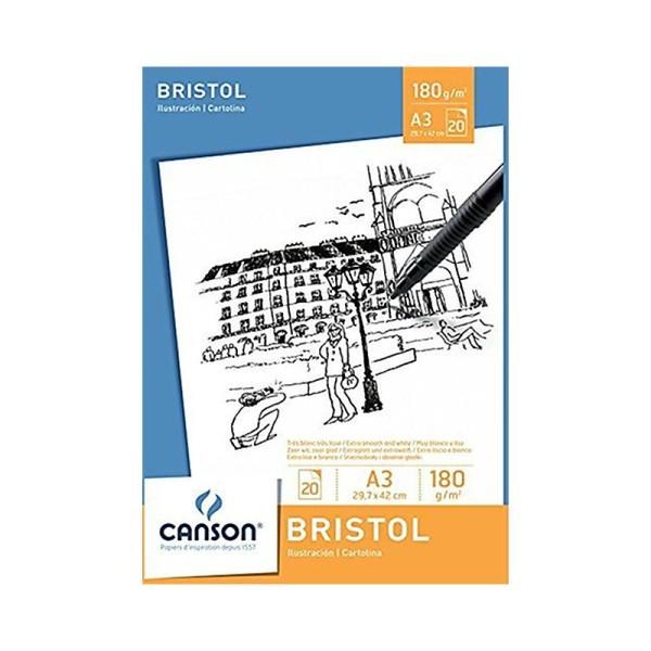 Canson 200005762 Bloc 20 feuilles Bristol Dessin 180g 29,7 x 42 cm - A3 Blanc - Photo n°1