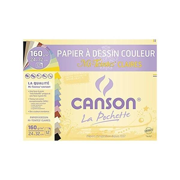 Canson 200002789 Pochette Papier à dessin Mi-Teintes 12 feuilles 160g 24 x 32 cm Couleurs claires - Photo n°1