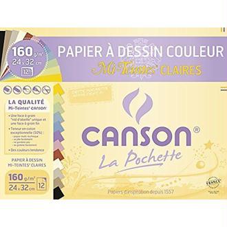 Canson 200002789 Pochette Papier à dessin Mi-Teintes 12 feuilles 160g 24 x 32 cm Couleurs claires