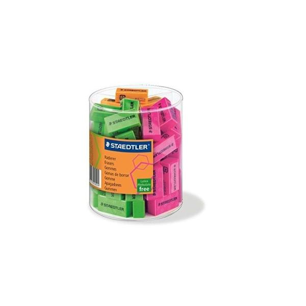 Staedtler 526F gomme neonfarbig en pot 60 pièces - Photo n°1