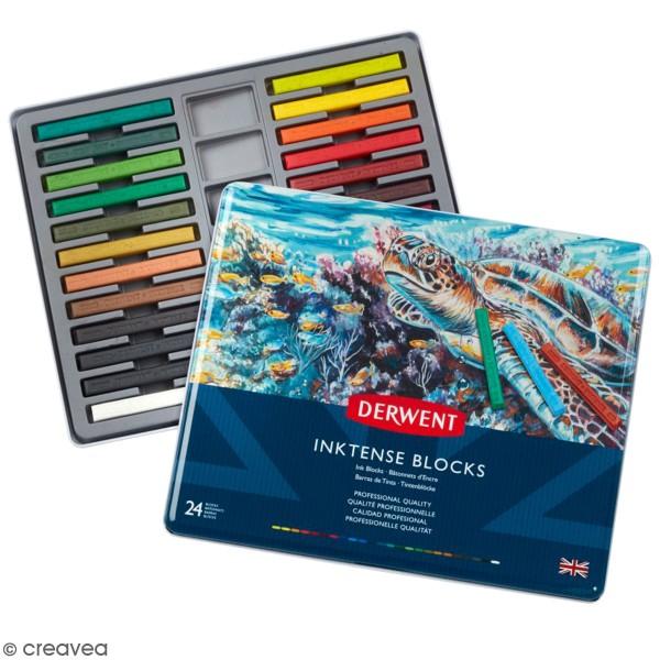 Pastels secs Derwent Inktense Bâtonnets - Boîte métal de 24 pastels - Photo n°1