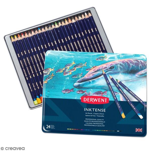Boîte de crayons de couleur aquarellables - Derwent Inktense - 24 pcs - Photo n°1