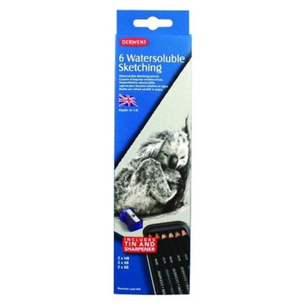 Derwent Crayons d'esquisse soluble à l'eau Boîte métal de 6 (Import Royaume Uni) - Photo n°3