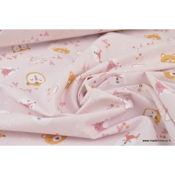 Tissu coton imprimé renard et loups fond mauve - Photo n°3