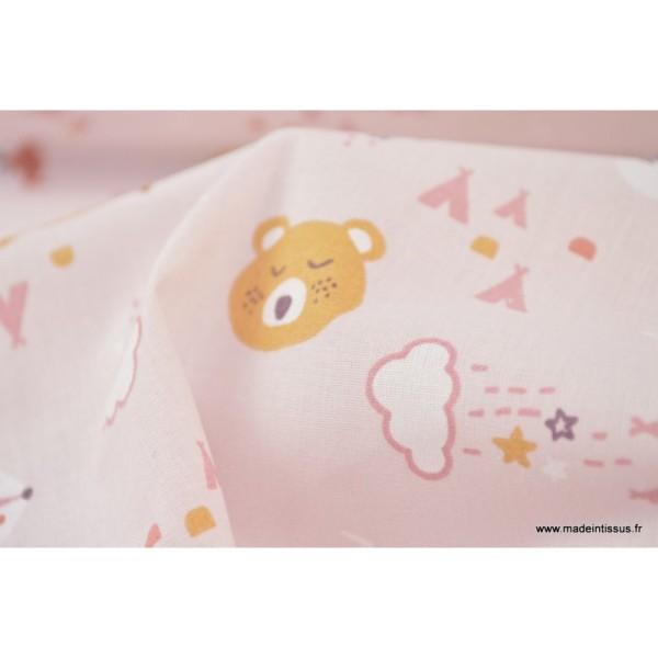Tissu coton imprimé renard et loups fond mauve - Photo n°4