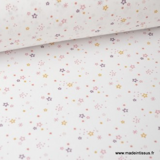 Tissu coton imprimé petites étoiles fond blanc