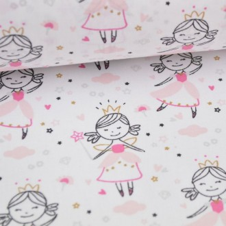 Tissu coton imprimé princesse danseuse rose
