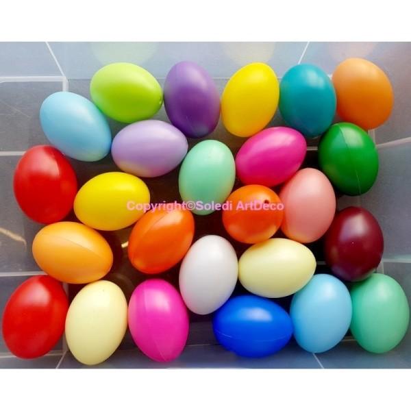 Lot de 25 oeufs en plastique, Coloris assortis, 6,2 cm de haut, idéal pour la chasse aux oeufs de pâ - Photo n°1