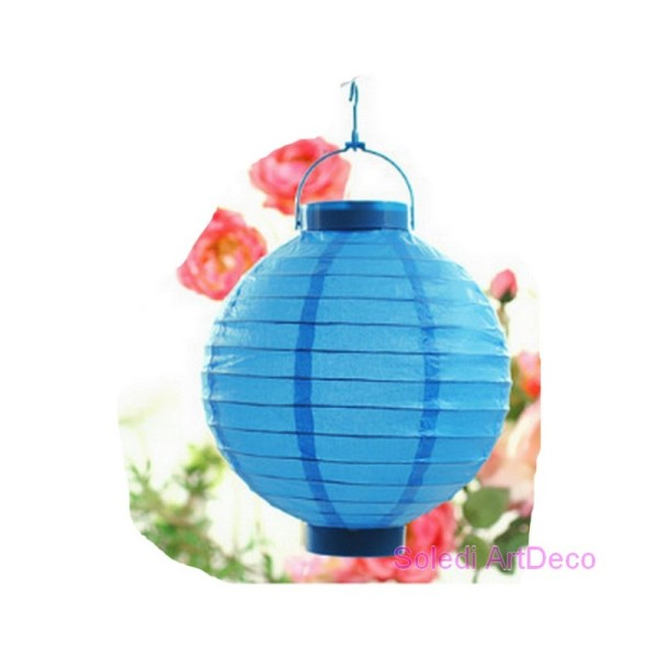 Petit Lampion Boule LED en Papier Bleu turquoise, Lanterne diam. 20 cm, avec suspension, pour extéri - Photo n°1