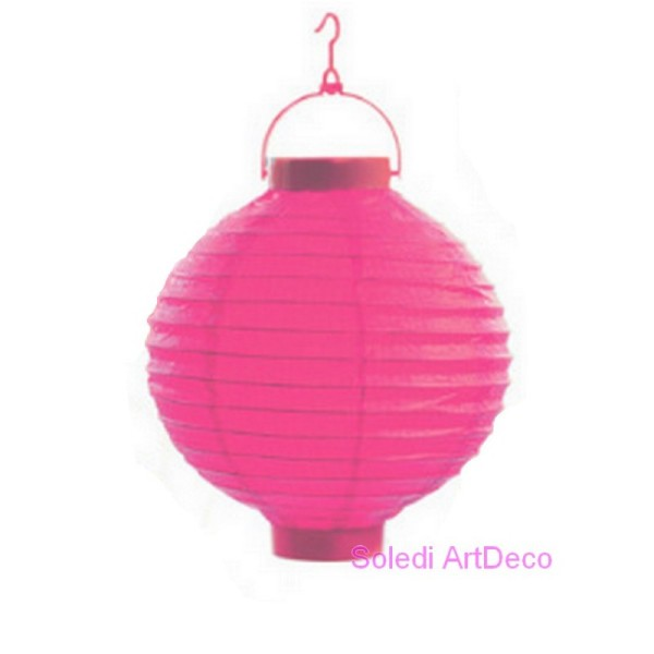 Petit Lampion Boule LED en Papier Rose fuchsia, Lanterne diam. 20 cm, avec suspension, pour extérieu - Photo n°1