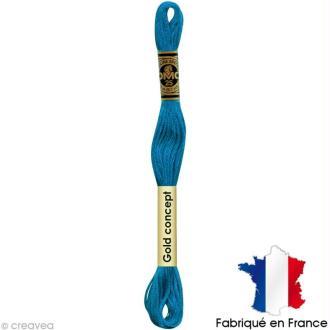 Fil à broder DMC mouliné spécial Bleu 3844 - Echevette 8 m