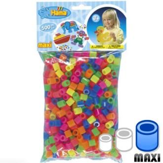 Perles Hama Maxi diam. 1 cm - Assort. fluo x500