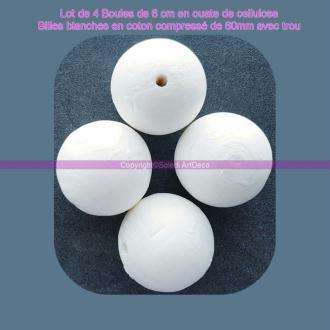Lot de 4 Boules de 6 cm en ouate de cellulose, Billes blanches en coton compressé de 60mm avec trou