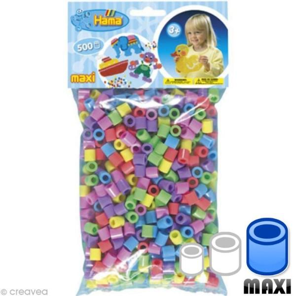 Perles Hama Maxi diam. 1 cm - Assort. pastel x500 - Photo n°1