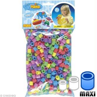 Perles Hama Maxi diam. 1 cm - Assort. pastel x500
