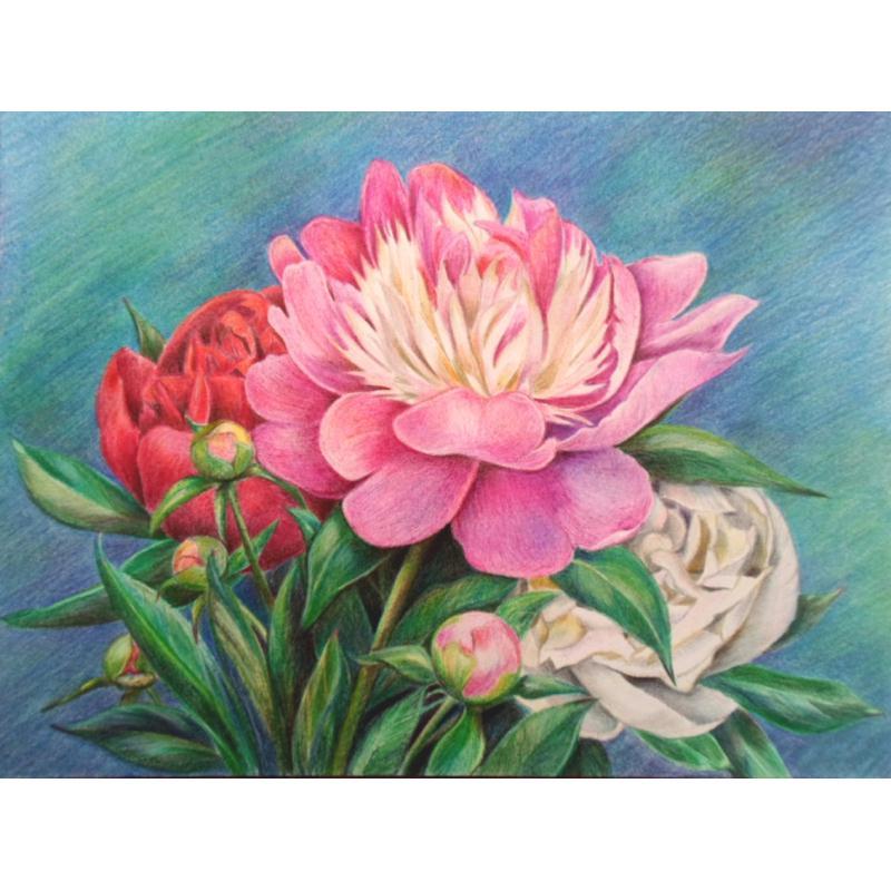 Broderie Diamant Kit - Bouquet de pivoines - 40 x 30 cm - Photo n°1