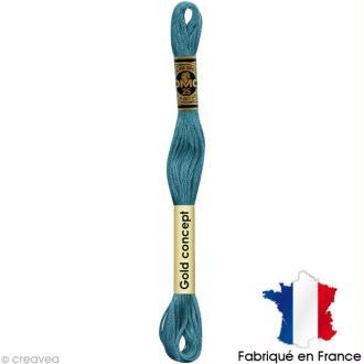 Fil à broder DMC mouliné spécial Bleu / vert 597 - Echevette 8 m