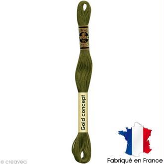 Fil à broder DMC mouliné spécial Vert / jaune 730 - Echevette 8 m