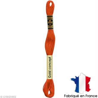 Fil à broder DMC mouliné spécial Orange 970 - Echevette 8 m