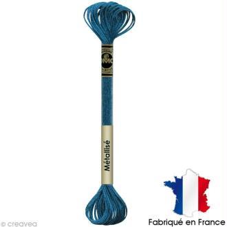 Fil à broder DMC mouliné Effet lumière - Effet bijoux Bleu piscine E3843 - Echevette 8 m