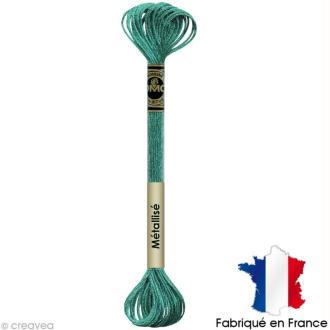 Fil à broder DMC mouliné Effet lumière - Effet bijoux Bleu turquoise E3849 - Echevette 8 m