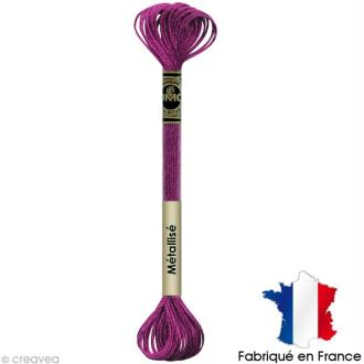 Fil à broder DMC mouliné Effet lumière - Effet bijoux Grenat rosé E718 - Echevette 8 m